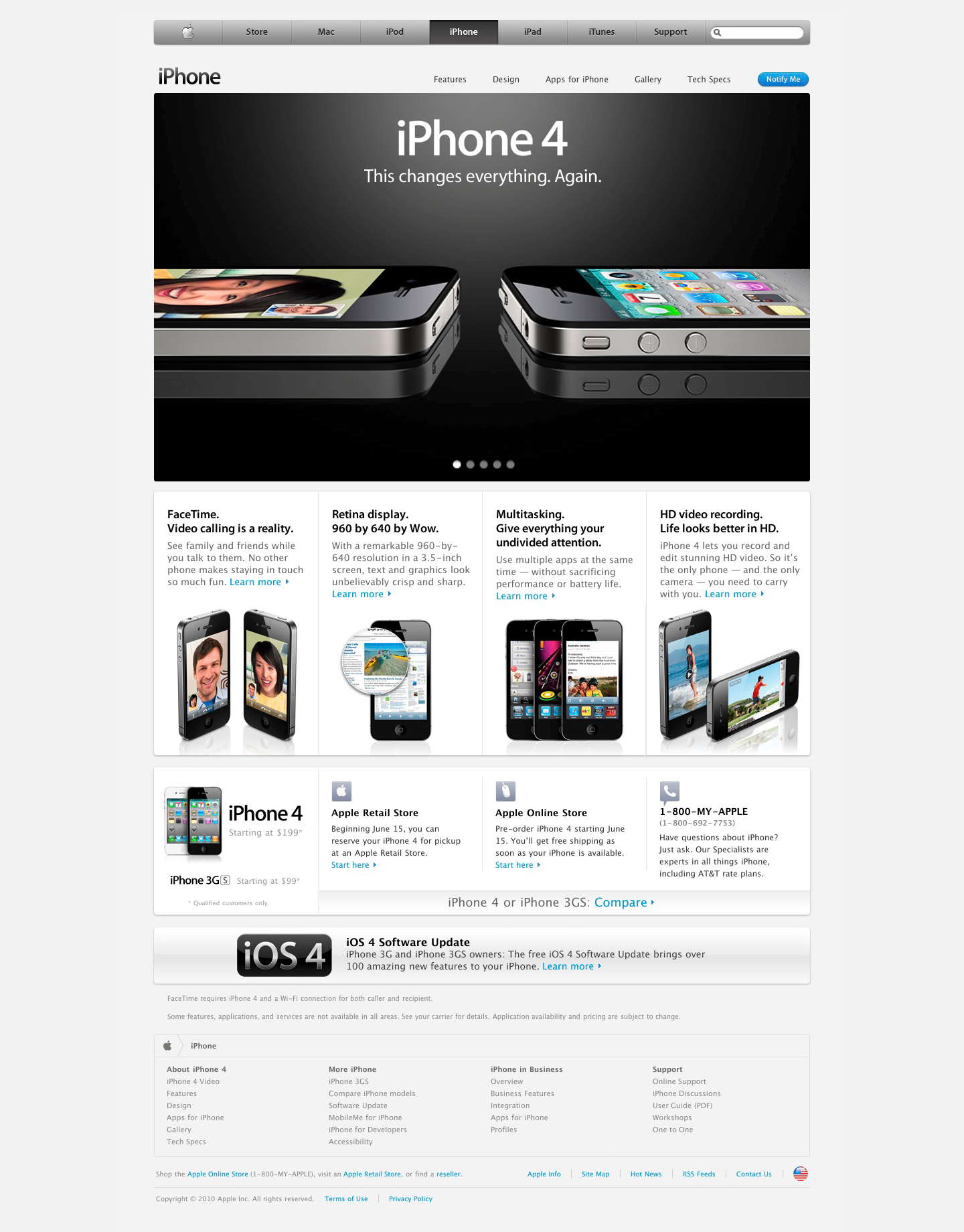 iPhone 4 landing page on Apple.com