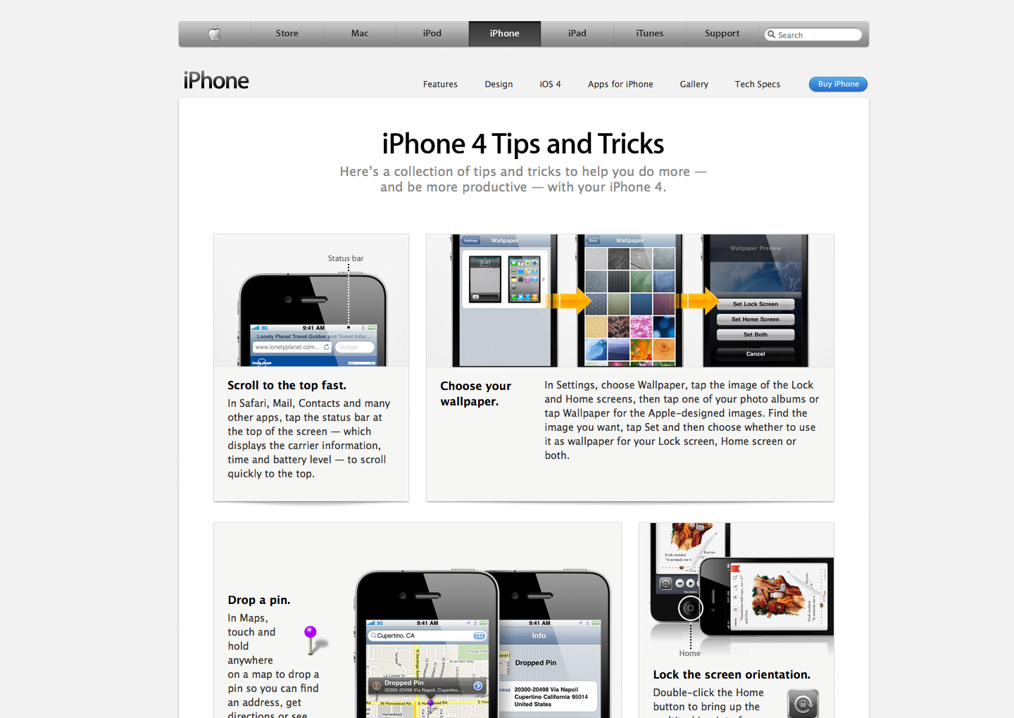 iPhone 4 Tips and Tricks on Apple.com