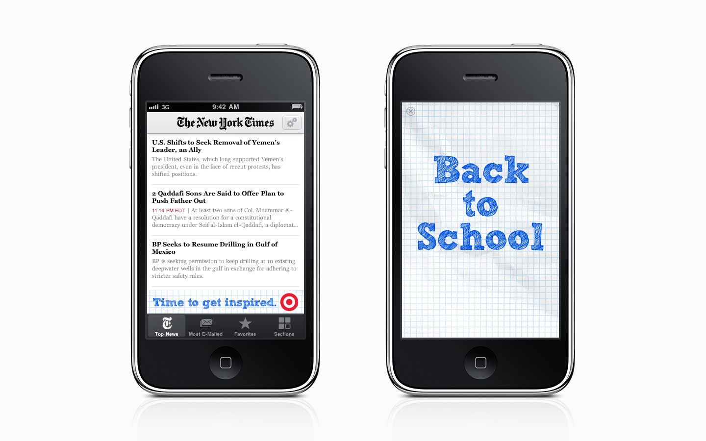 Banner ad and intro to Target's Back to School iAd