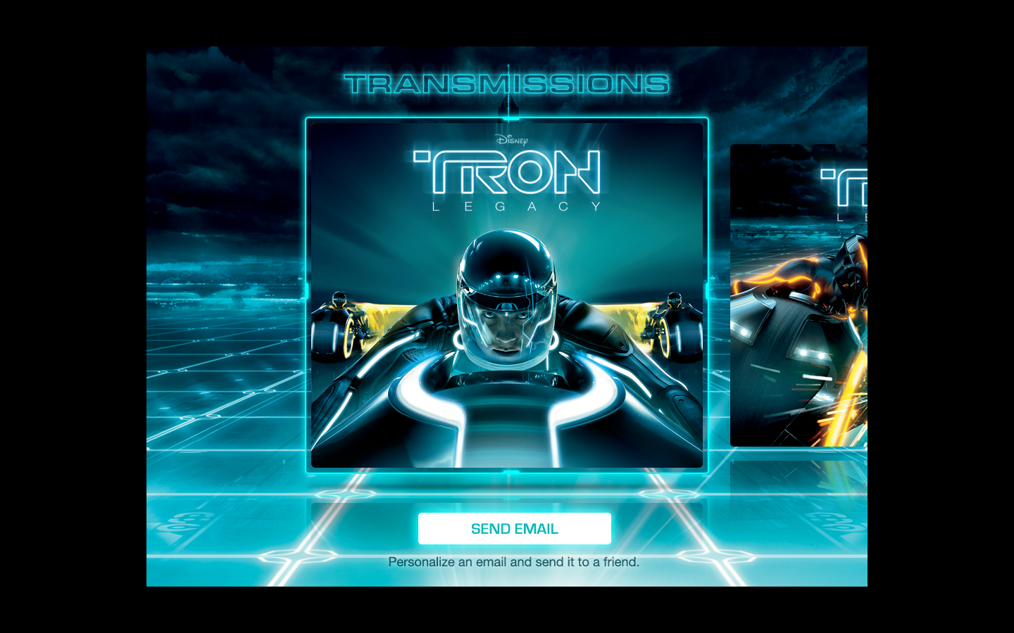 Emails you can send to friends in Disney's TRON iAd